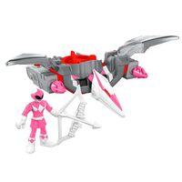 Figura-Mighty-Morphin-Power-Rangers---Zord-Rangers---Ranger-Rosa-e-Pterodactilo---Fisher-Price