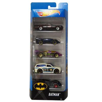 Carrinhos-Hot-Wheels---Pacote-com-5-Carros---DC-Comics---Batman---Mattel