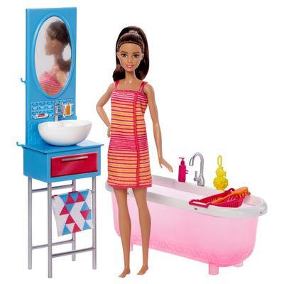 Boneca-Barbie-Articulada---Barbie-com-Moveis-e-Acessorios---Barbie-no-Banheiro---Mattel