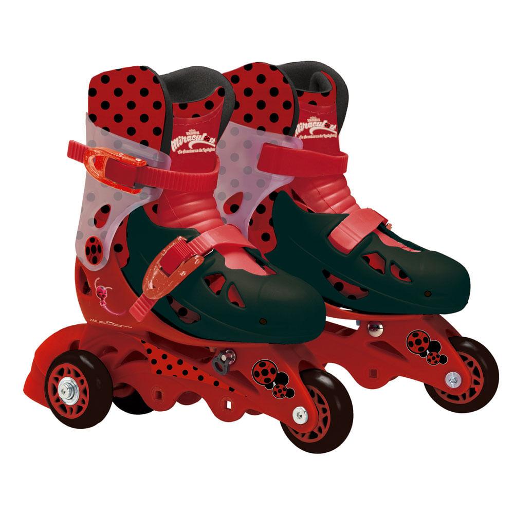 Patins Ajustáveis com Kit de Segurança - 29 ao 32 - Miraculous - Ladybug - Fun