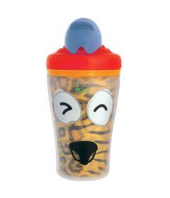 Copo-Termico-com-Canudo-Retratil---Safari---Tigrinho---Tampa-Azul---KaBaby