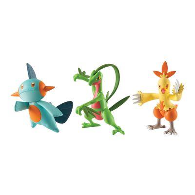 Mini-Figuras-Pokemon---3-unidades---Grovyle-Combusken-e-Marshtomp---Tomy