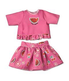 Conjuntinho-de-Passeio-Rosa-com-Frutinhas-para-Boneca-Little-Mommy---Blusa-e-Saia---Laco-de-Fita