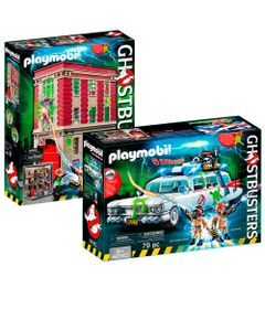 Kit-Playmobil---Playset-com-Veiculo-e-Mini-Figuras---Ghostbusters---Quartel-General-e-ECTO-1---Sunny