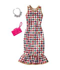Roupinha-para-Boneca-Barbie---Look-Completo---Vestido-com-Estampa-de-Pedras-Preciosas----Mattel