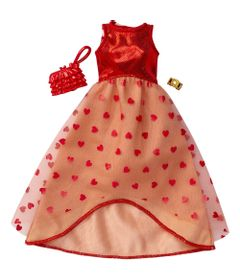 Roupinha-para-Boneca-Barbie---Look-Completo---Vestido-Vermelho-com-Tule-de-Coracoes----Mattel