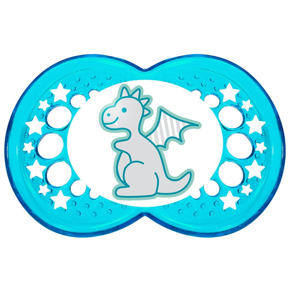 Chupeta Clear Silk Touch Boys - Fase 2 - Azul - Dragão - MAM