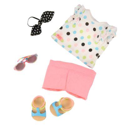 Conjunto-Roupas-para-Bonecas---Our-Generation---Bermuda-e-Camisa-de-Bolinhas