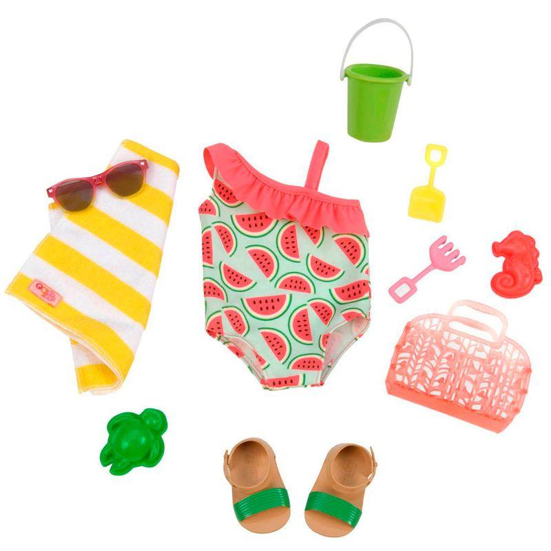 bd3395379 Conjunto Roupas para Bonecas - Our Generation - Maiô de Melancia e  Acessórios de Praia - Ri Happy Brinquedos