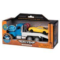 Veiculo-com-Luzes-e-Sons---Micro-Series---Driven---Caminhao-Reboque-Azul-com-Carrinho-Amarelo---Candide