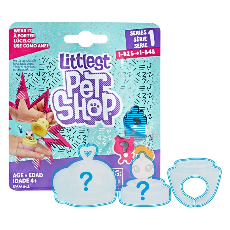mini figura com anel littlest pet shop surpresa hasbro ri
