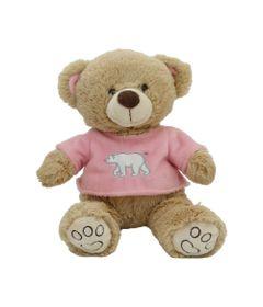 Pelucia-30-Cm---Ursinho-Pardo-com-Camisa---Camisa-Rosa---Bee-Me-Toys