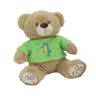 Pelucia-30-Cm---Ursinho-Pardo-com-Camisa---Camisa-Verde---Bee-Me-Toys