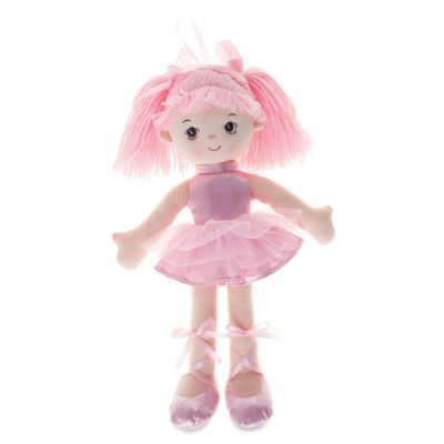 Boneca-de-Pano---42-cm---Bailarina-com-Glitter---Rosa---Buba