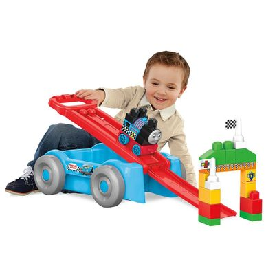 Blocos-de-Montar---Mega-Bloks---Thomas---Friends---Pista-de-Corrida-e-Vagao-Thomas---Fisher-Price