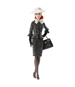 Boneca-Barbie-Colecionavel---30-Cm---Barbie---Black---White---Tweed-Suit---Mattel