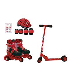 Kit-Esporte-e-Lazer---Miraculous---Ladybug---Patinete---Patins-Tam-29-ao-32---Kit-de-Seguranca---Fun