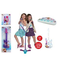 Kit-de-Instrumentos-Musicais---Disney-Frozen---Teclado-Flauta-2-Guitarras-e-2-Microfones-com-Base---Toyng
