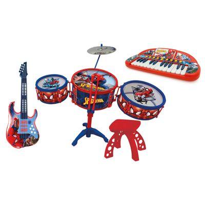 Kit-de-Instrumentos-Musicais---Spider-Man---Marvel---Teclado---Guitarra---Bateria---Toyng