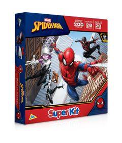 Kit-de-Atividades---Spider-Man---Quebra-Cabeca-200-Pecas---Domino-28-Pecas---Jogo-da-Memoria-20-Pares---Toyster
