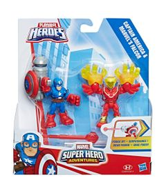 Mini-Figuras---Playskool-Heroes---Marvel-Super-Heroes-Adventure---Capitao-America-e-Falcao---Hasbro