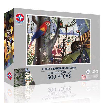 Quebra-Cabeca---500-Pecas---Candido-Portinari---Fauna-e-Flora-Brasileira---Estrela
