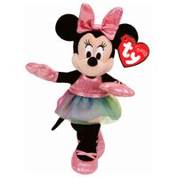 Pelucia-Beanie-Babies---40-Cm---Minnie-Mouse---Vestido-Rosa---Disney---DTC