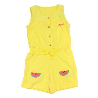 Macaquinho-Manga-Curta-em-Malha-Flame---Amarelo---Minnie---Jardim-Tropical---Disney---P