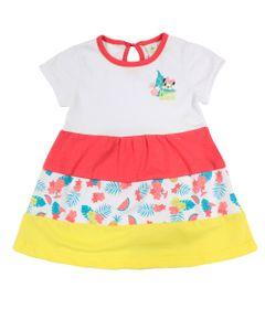 Vestido-Manga-Curta-em-Cotton---Branco---Minnie---Jardim-Tropical---Disney---M