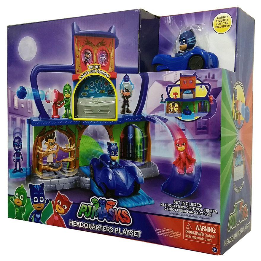 Playset-e-Veiculo-com-Figura---PJ-Masks---Quartel-General---DTC