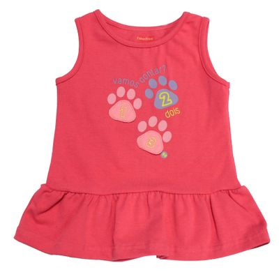 Blusa-Regata-e-Gola-Careca-com-Babado-em-Cotton---Rosa---Fisher-Price---1