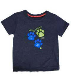 Camiseta-Manga-Curta-com-Gola-Careca-em-Meia-Malha---Azul-Mescla---Fisher-Price---1