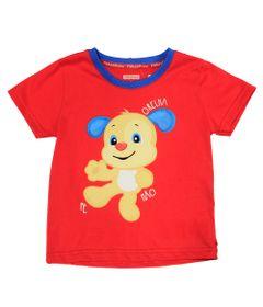 Camiseta-Manga-Curta-com-Gola-Careca-em-Meia-Malha---Vermelha-e-Azul---Fisher-Price---2