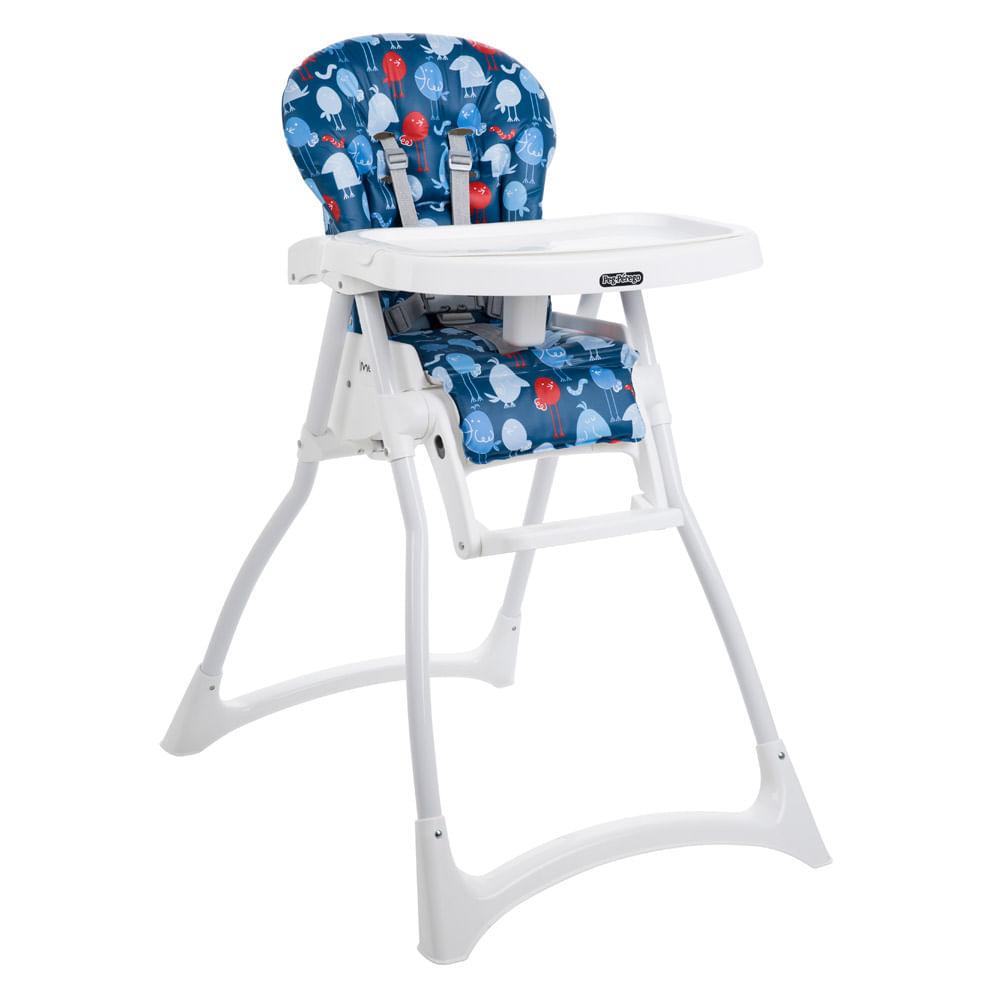 Cadeira de Alimentação com 2 Bandejas e Cinto de Segurança - Merenda - Passarinho - Azul - Burigoto