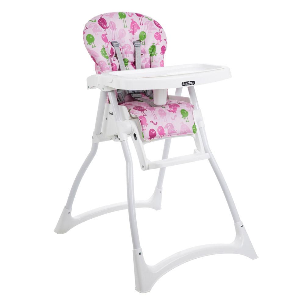 Cadeira de Alimentação com 2 Bandejas e Cinto de Segurança - Merenda - Passarinho - Rosa - Burigotto