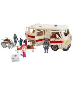 Playset-e-Mini-Figuras---Masha-e-o-Urso---Ambulancia---Sunny