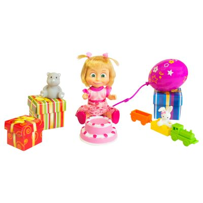 Boneca-com-Mecanismo---15-Cm---Masha-e-o-Urso---Masha-Cantora---Feliz-Aniversario---Sunny