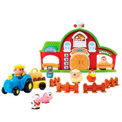 Playset-com-Mini-Figuras-e-Veiculos---Fazendinha---New-Toys