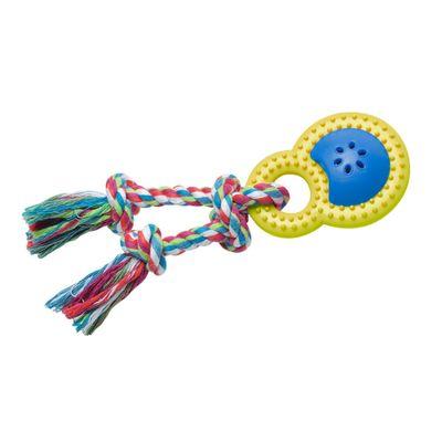 Brinquedos-para-Pet---Mordedor-Happy-Rattle-P---Amarelo-e-Azul---Pet-Brink