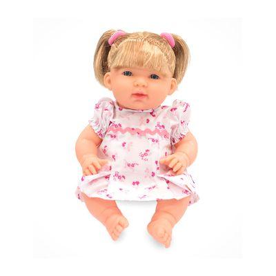 Boneca---Luiza---38-cm---Vestido-Branco-com-Rosas---Cotiplas