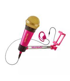 Brinquedo-Eletronico---Selfie-Mic---Microfone-Selfie---Rosa-e-Dourado---Estrela