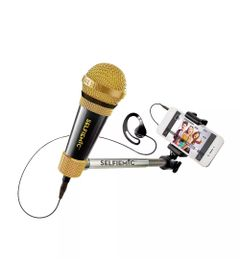Brinquedo-Eletronico---Selfie-Mic---Microfone-Selfie---Preto-e-Dourado---Estrela