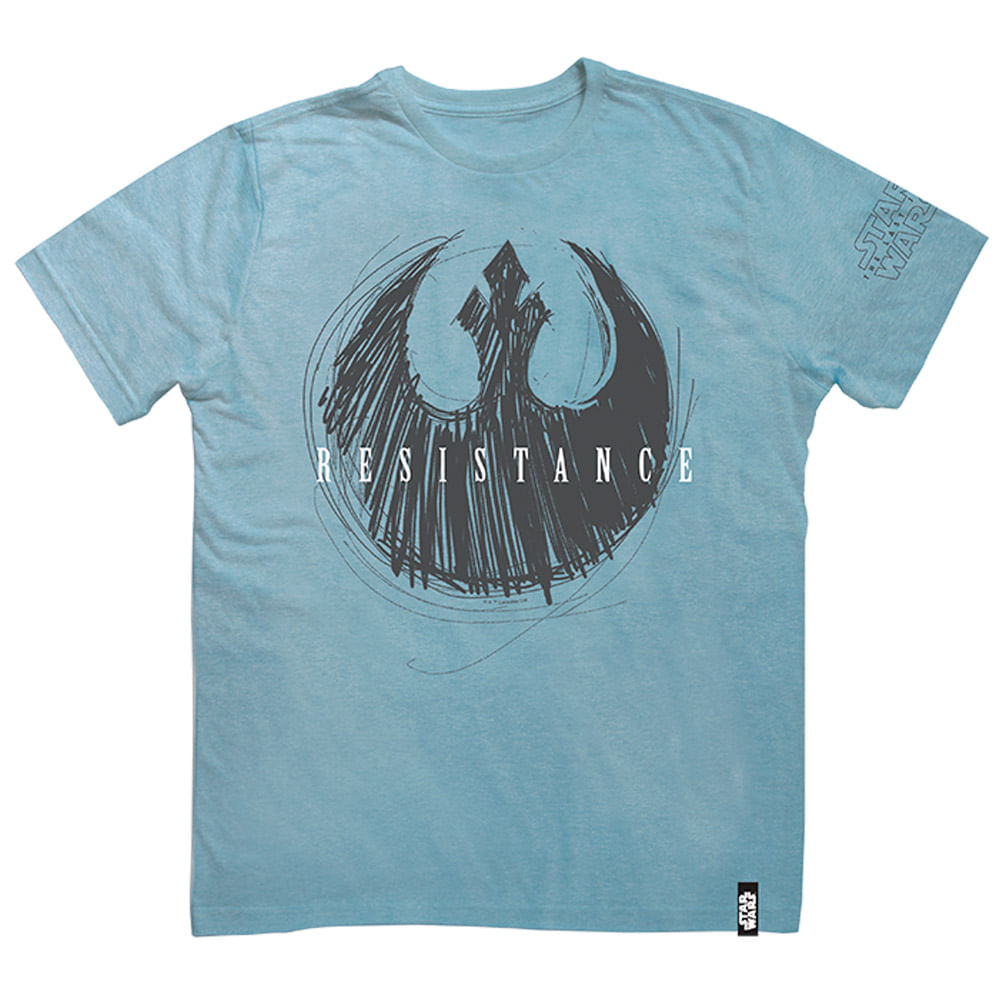 Camisa Manga Curta - Disney - Star Wars - VIII - Resistence Azul - Studio Geek
