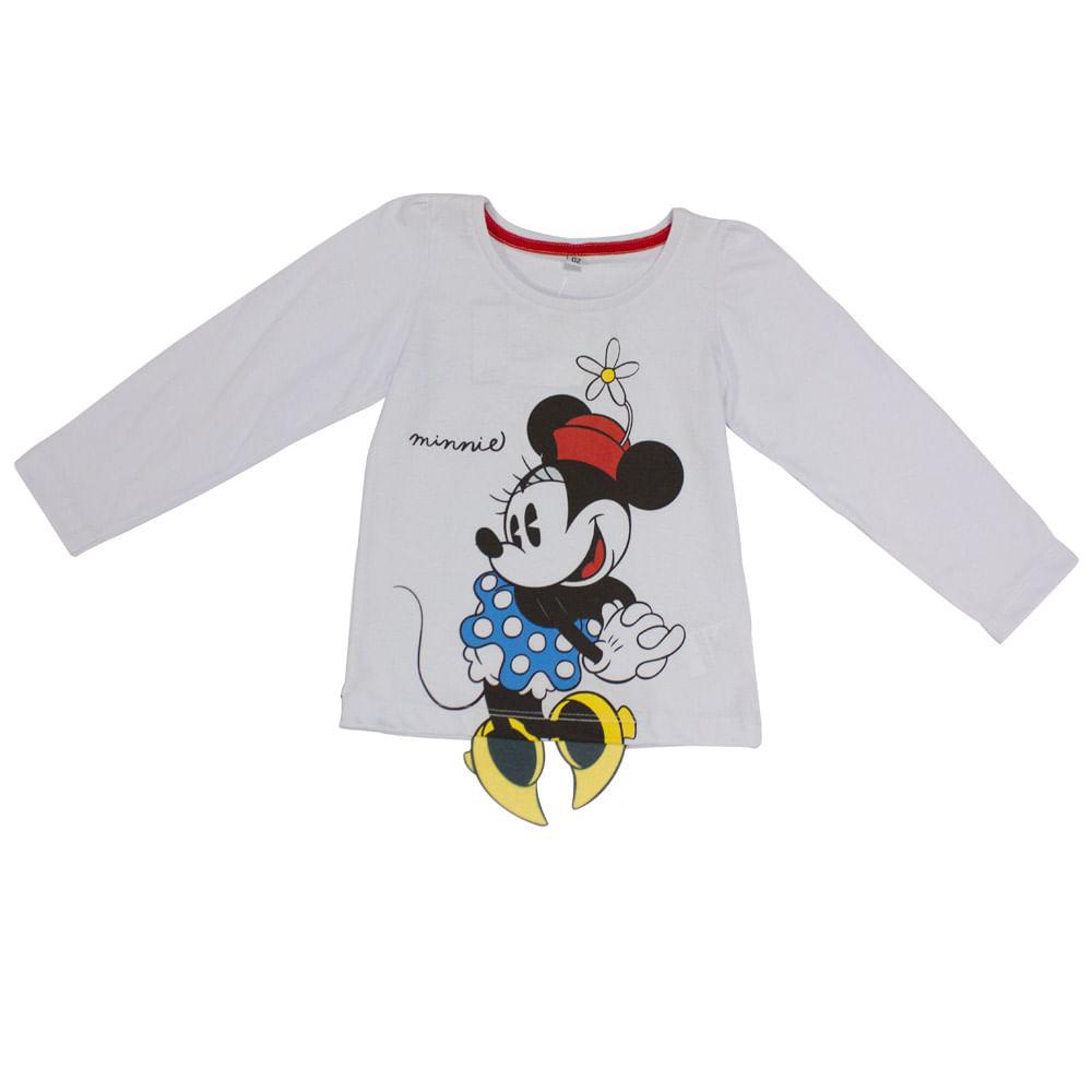Blusa Manga Longa em Meia Malha - Branca - Fantasia Minnie - Disney