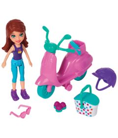 Playset-e-Mini-Boneca-Polly-Pocket---Bicicleta-e-Piquenique---Lila