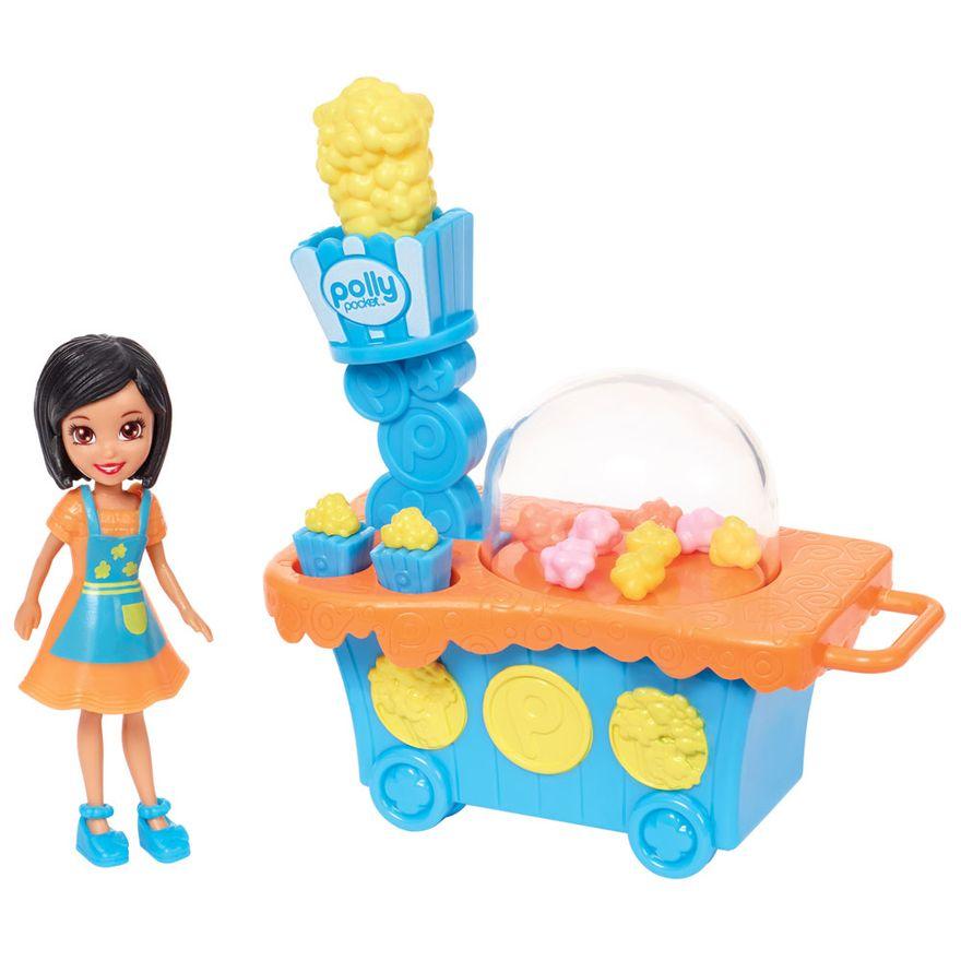 Playset-e-Mini-Boneca-Polly-Pocket---Carrinho-de-Pipoca-e-Crissy---Mattel