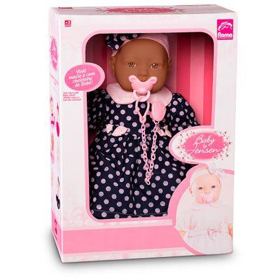 Boneca-Bebe---Baby-By-Jensen---Negra---Vestido-Azul-com-Bolinhas---Roma-Jensen