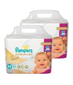 Kit-com-2-Pacotes-de-Fralda-Descartavel-Premium-Care-Jumbo---M---Total-168-Unidades---Pampers