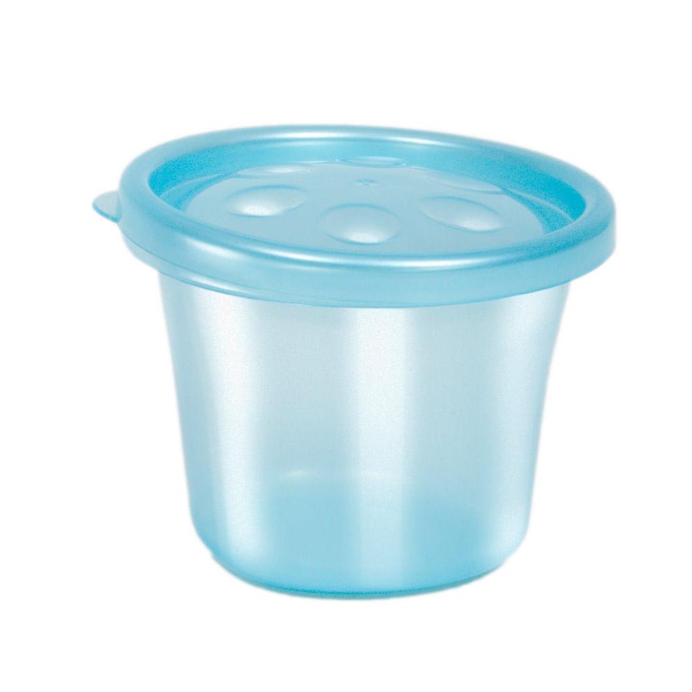 Conjunto de Potinhos para Papinha - 3 Unidades - Azul - Buba