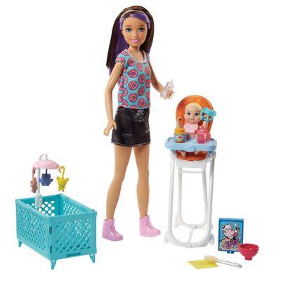 Boneca-Barbie---Skipper-Babysister---Cadeirinha-de-Alimentacao-e-Bercinho---Mattel